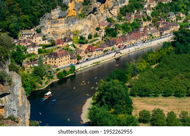 La Roque-Gageac, Dordogne, France - July 31, 2019: Aerial view of the village built on the bank of the river Dordogne. It has been awarded status of one of the most beautiful villages of France.