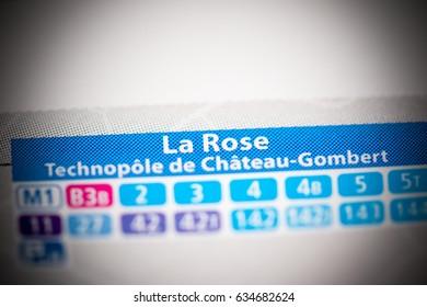 La Rose Station. Marseille Metro map.