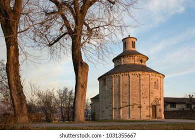La Rotonda di San Tomè, municipality of Almenno San Bartolomeo (Bergamo) at sunset. Ecclesial building in Romanesque style dating back to the first half of the twelfth century, dedicated to St. Thomas