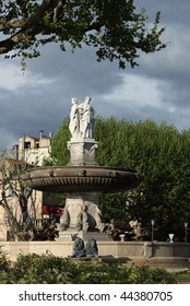 La Rotonde fountain - The central roundabout in Aix-en-Provence, France.