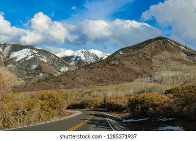 La Sal Mountain Road outside Moab, Utah, USA