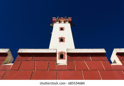 La Serena lighthouse below view with blue sky on the background, Chile. Iconic architecture building landmark