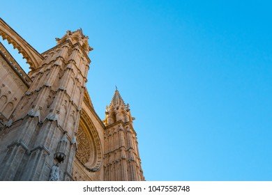 La Seu Cathedral, Palma de Mallorca, Spain. Stand-out landmark building of Palma, capital city of Balearic Islands.