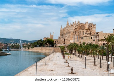 La Seu, the Cathedral of Santa Maria of Palma. It is a Gothic Roman Catholic cathedral located in Palma de Mallorca - Balearic Islands, Spain