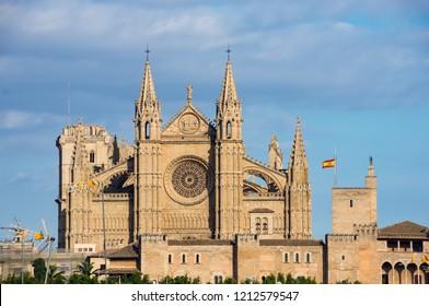 La Seu, the Cathedral of Santa Maria of Palma. It is a Gothic Roman Catholic cathedral located in Palma de Mallorca - Balearic Islands, Spain