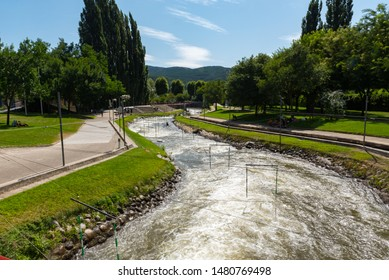 La Seu de Urgell, Catalonia : 2019 August  16 : Circuit of kayac in the Rafting Segre Park of La Seu de Urgell, Catalonia.
