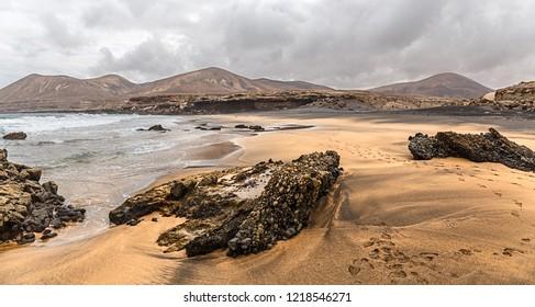 La Solapa, a Virgin Gold-Colored Sandy Beach in Fuerteventura, Canary Islands