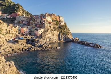 La Spezia - Italia - 10-24-2014: Manarola, one of the famous Cinque Terre, at sunset