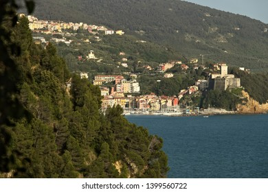 La Spezia, Italy. 09/05/2019.  The town of Lerici and its castle overlooking the sea of Liguria. Near the Cinque Terre the country of Lerici and the castle. The green Mediterranean Sea