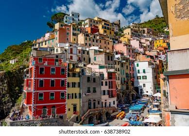 LA SPEZIA, ITALY - APRIL 30, 2017 - Cinque Terre. Riomaggiore village in a small valley in the Liguria region of Italy.