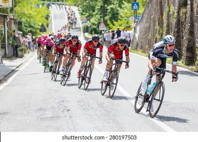 LA SPEZIA, ITALY - MAY 12, 2015: Team BMC into the group of cyclists during the 4th stage of Giro d'Italia