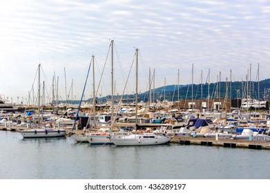 LA SPEZIA, ITALY -MAY 5, 2016: Yachts and boats at the port of La Spezia. La Spezia is the capital city of the province of La Spezia.
