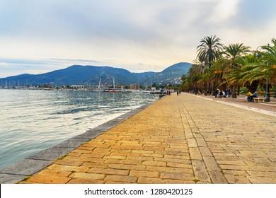 La Spezia, Italy - October 10, 2018: Promenade Costantino Morin, Coastline and harbor of La Spezia, Liguria