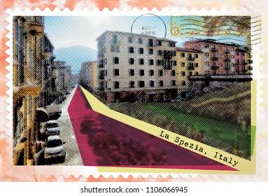 La Spezia, Italy, retro postcard