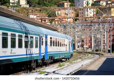 LA SPEZIA,LIGURIA.ITALIA.  August 2017. Train and train station of La Spezia, Liguria.