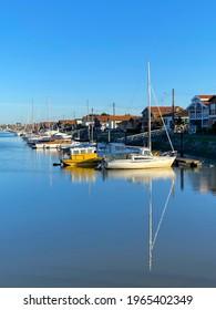 La Teste de Buch, France - August 2019 : Pleasure boats moored to a pontoon of the port  of La teste de Buch in the Arcachon Bay, France