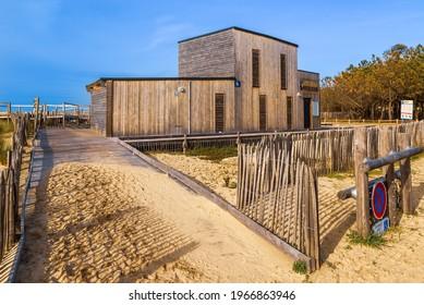 La Teste-de-Buch, France - August 2014 : lifeguard station of Le Petit Nice beach, in La Teste de Buch on the Arcachon bay, France
