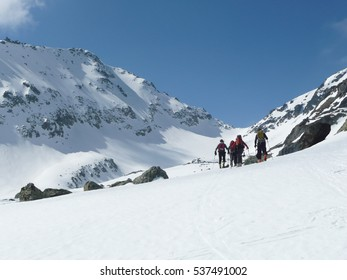 LA THUILE,IT - CIRCA MARCH 2011 - Ski tourers towards Mont Colmet
