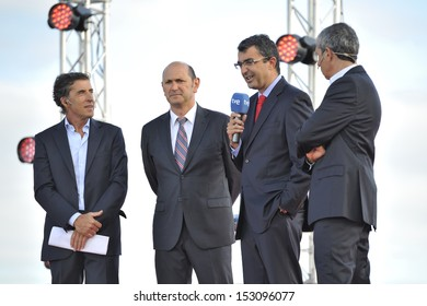 LA TOJA ISLAND, PONTEVEDRA, SPAIN - AUGUST 23 - official presentation of the Tour of Spain 2013 (La Vuelta). Speech by Director's race and local authority. 08-23-2013