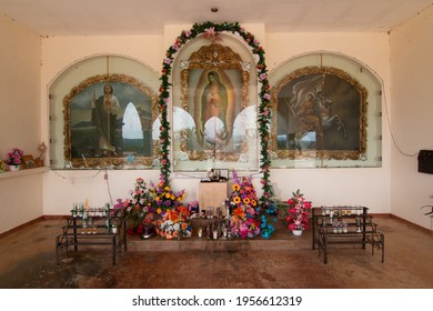 La Torre, Baja California Sur - August 21, 2018:  The catholic praying alter is at Tropic of Cancer on Mexico Highway 1.