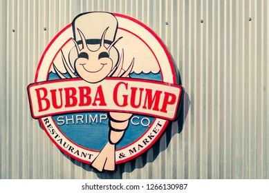 LA, USA - 30th October 2018: The Bubba Gump Shrimp Co sign on the side of a building - Santa Monica Pier, LA, California, USA