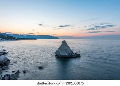 La vela cliff in Portonovo from above. sunset in La Vela, Portonovo Ancona. La Vela cliff in Conero Riviera, Portonovo beach, ancona.