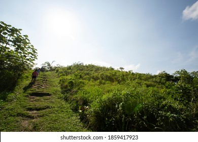 La Venta,  Tabasco/Mexico - January 3,  2019: Visitors scramble down the steep sides of Complex C, the Great Pyramid at the Olmec site of La Venta.