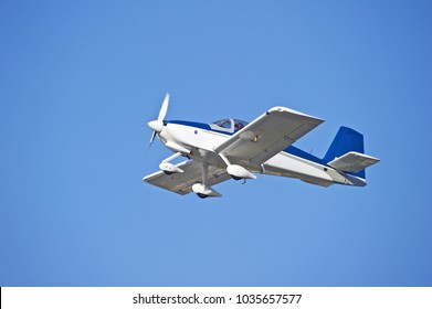 LA VERNE/CALIFORNIA - FEB. 11, 2018: Privately owned Van's RV-9A aircraft approaches the runway to make a landing at Brackett Airport. La Verne, California USA