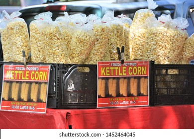 La Veta, CO, USA. July 6 2019. Kettle corn is a sweet-and-salty variety of popcorn. This Kettle corn is for sale at  local art festival in La Veta, Colorado.