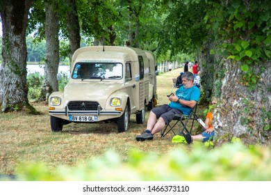 LA FERTÉ VIDAME - FRANCE, JULY 19, 2019: The Citroën van Citroen Acadiane, sometimes referred to as Acadyane or mini truck, is the successor of the famous Citroen 2CV AK250 and AK400 or AZU