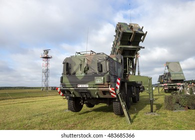 LAAGE, GERMANY - AUG 23, 2014: A German army mobile MIM-104 Patriot surface-to-air missile (SAM) system on display during the Laage airbase open house.