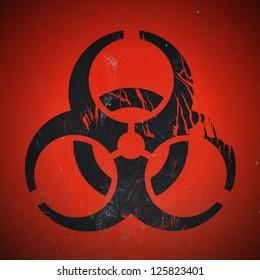 Lab Bio-Hazard Warning Symbol in Black with Red Background