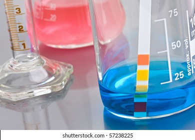 Lab chemistry - color flasks - shallow DOF