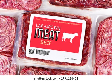 Lab grown cultured meat concept for artificial in vitro cell culture meat production with frozen packed raw meat with made up label - Shutterstock ID 1791126431