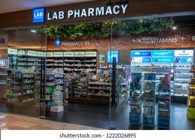 Lab Pharmacy, Gaysorn Village, Bangkok, Thailand, Oct 25, 2018 : Modern pharmacy chain in luxury department store.