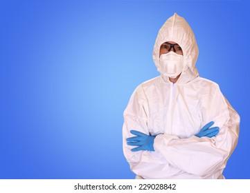 Lab scientist in safety suit