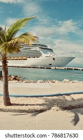 Labadee, Haiti - 22 December, 2017: The ship Navigator of the Seas at port with a vintage look