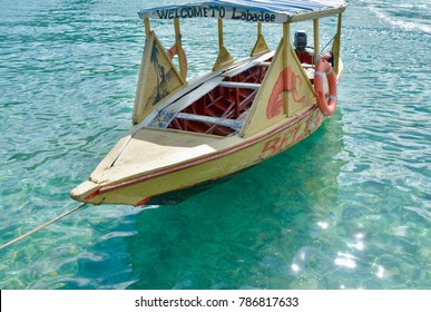 Labadee, Haiti - 22 December, 2017: A local boat floats on the water.