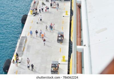 Labadee, Haiti - December 24, 2017: Cruise tourists disembarking