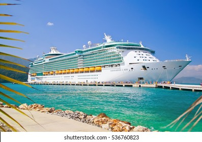 LABADEE, HAITI - FEBRUARY 26, 2013: Royal Caribbean cruise ship Independence of the Seas docked at the private port of Labadee