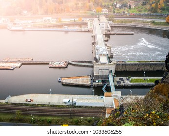 Labe river lock near Strekov, Usti nad Labem, Czech Republic.