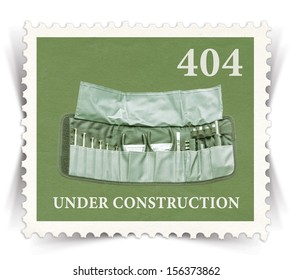 Label for 404 error web page stylized as vintage post stamp - landscape view