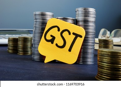 Label with abbreviation GST Goods and Services Tax
