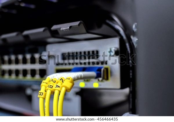 Label Fiber Optic Network Server Router Stock Photo (Edit Now) 456466435