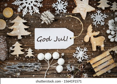 Label, Frame, God Jul Means Merry Christmas, Snowflakes