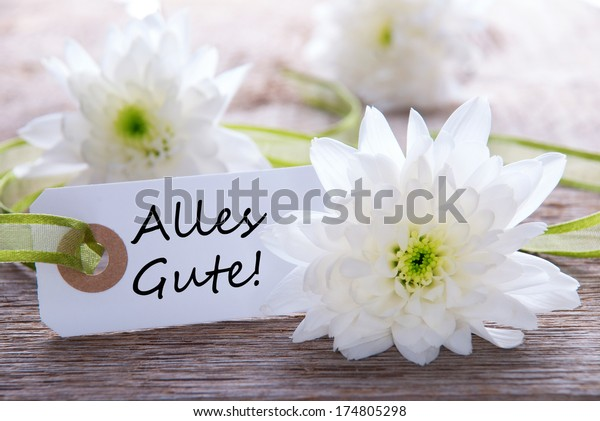 Label with the German Words Alles Gute which means Congratulations