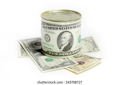 Label with the image of dollar on a tin food