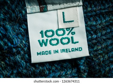 Label on the sweater. 100% wool. Made in Ireland