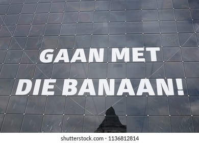 A label outside of Markthal, a modern dutch marketplace Rotterdam, Netherland on Apr. 15, 2018