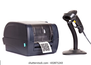 "Label Printer and Wireless Barcode Scanners isolated on white background.  Dummy barcode contains text ""Barcode""."